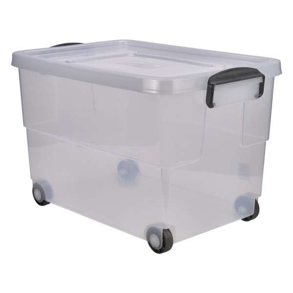 storage box 60l w clip handles on wheels supplied with lid 59 x 40 x 38cm l x w x h. Black Bedroom Furniture Sets. Home Design Ideas