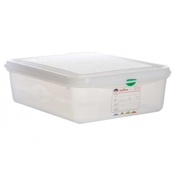 GN Storage Container 1/2 100mm Deep 6.5L (supplied with lid) (pack of 6)