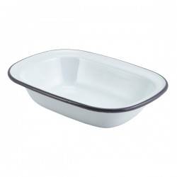 Enamel Rect. Pie Dish White with Grey Rim 20cm