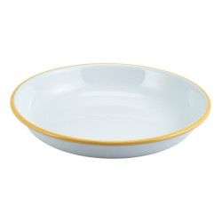 Enamel Rice/Pasta Plate White with Yellow Rim 20cm