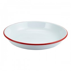 Enamel Rice/Pasta Plate White with Red Rim 24cm
