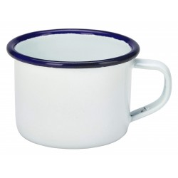 Enamel Mug White With Blue Rim 12cl/4.2oz 4.8 (H) x 6.8 (Dia.) cm