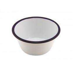 Enamel Round Deep Pie Dish White & Blue 12cm 12 (Dia.) x 6 (H) cm 50cl/17.5oz