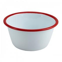 Enamel Round Deep Pie Dish White with Red Rim 12cm