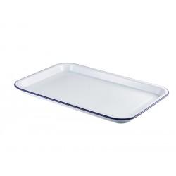 Enamel Serving Tray White with Blue Rim 33.5x23.5x2.2cm