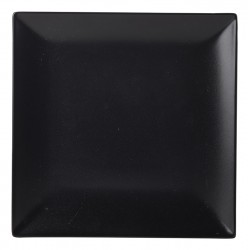 Luna Square Coupe Plate 18cm Black Stoneware (pack of 6)