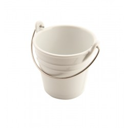 Porcelain Bucket W/ Stainless Steel Handle 11cm Dia. 43cl 11.2cm (H)