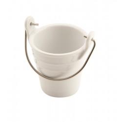 Porcelain Bucket W/ Stainless Steel Handle 6.5cm Dia. 10cl 6.5cm (H)