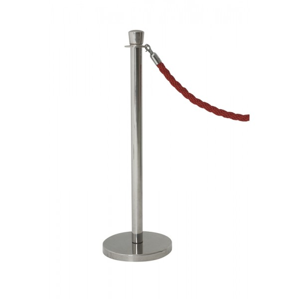 Genware Stainless Steel Barrier Post  - rope sold separately (pack of 2)
