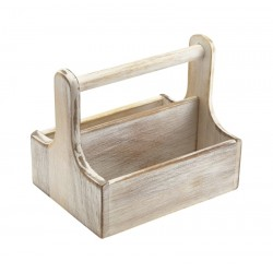 Medium White Wooden Table Caddy
