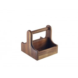 Small Dark Wood Table Caddy 15x15.3x15cm