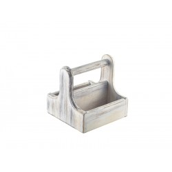 Small White Wooden Table Caddy 15x15.3x15cm