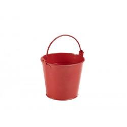 Galvanised Steel Serving Bucket 10cm Dia. Red