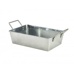 Galvanised Steel Rectangular Serving Bucket 24 x 16.7 x 7cm