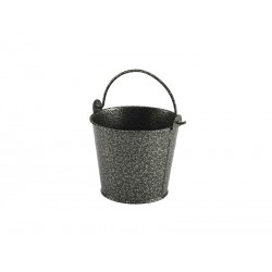 Galvanised Steel Hammered Serving Bucket 10cm Dia. Silver