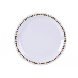 "Genware Melamine 9"" Plate- Coloured Circles (pack of 12)"