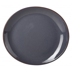 Terra Stoneware Rustic Blue Oval Plate 29.5 x 26cm (pack of 6)