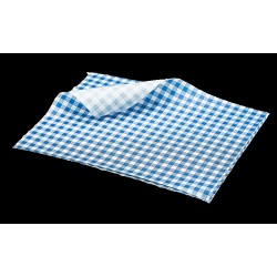 Greaseproof Paper Blue Gingham Print 25 x 20cm 1000 Sheets per Parcel