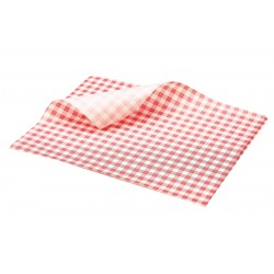 Greaseproof Paper Red Gingham Print 25 x 20cm 1000 Sheets per Parcel