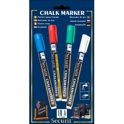 Chalkmarkers 4 Colour Pack (R,G,W,Bl) Small 1-2mm Round Tip
