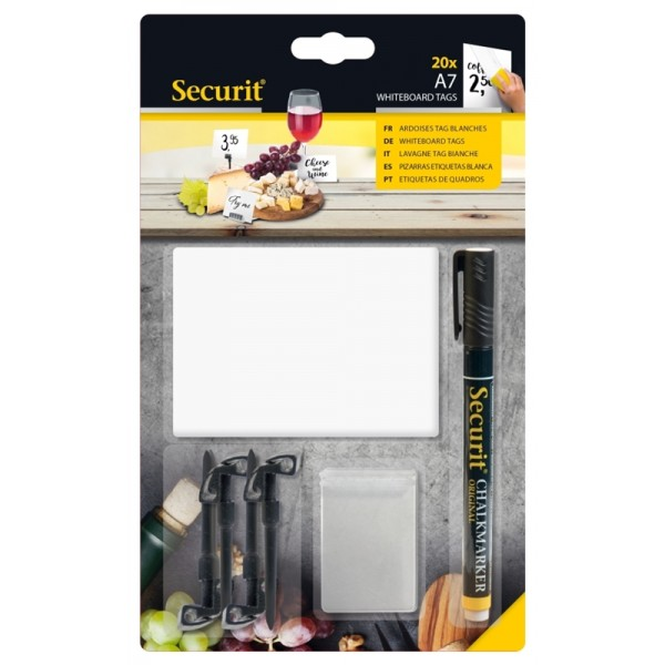 20 White Chalk Board Tags A7 + 1 Black Chalkmarker