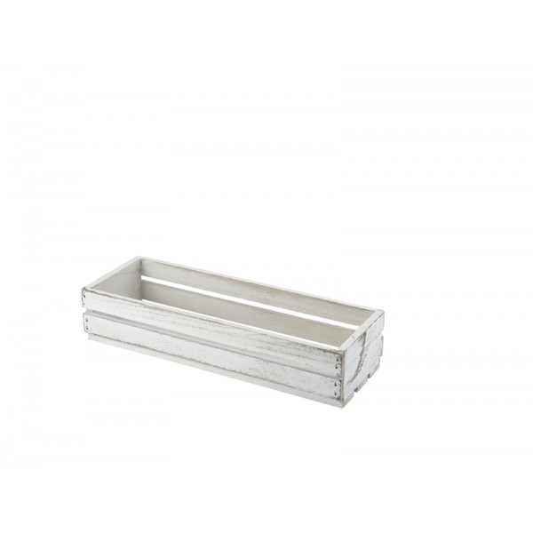 Wooden Crate White Wash Finish 34 x 12 x 7cm