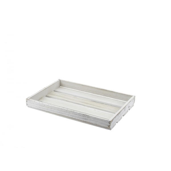 Wooden Crate White Wash Finish 35 x 23 x 4cm