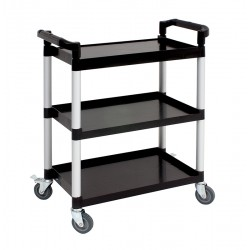 Genware Small 3 Tier PP Trolley Black Shelves 80.5 (L) x 41 (W) x 96.5 (H) cm