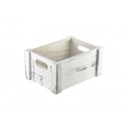 Wooden Crate White Wash Finish 22.8x16.5x11cm
