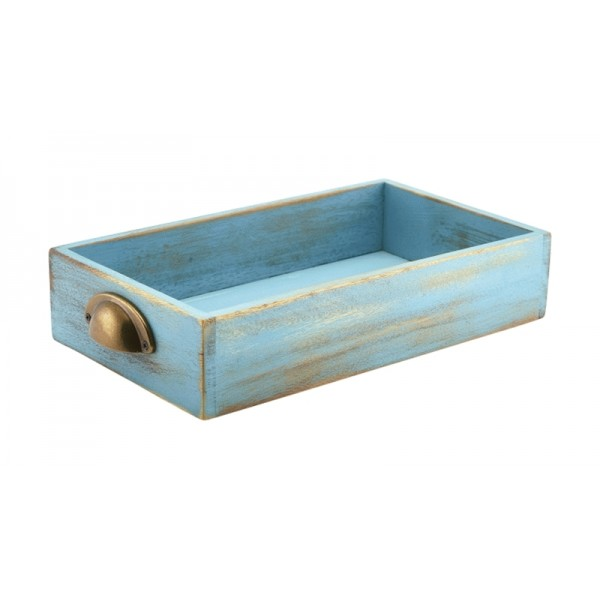 Blue Wash Acacia Wood Display Drawers GN 1/3