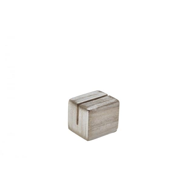 White Wash Acacia Wood Sign Holder 3 x 2.5 x 2.5cm